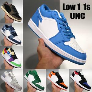 New Low 1 1s Jumpman mens basketball shoes UNC OG SP Travis Scotts multi snake skin pine green paris men women sport sneakers