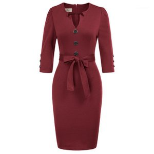 Women Slim Bodycon Wear to Work Belted Office Lady Pencil Cocktail Midi Dress1