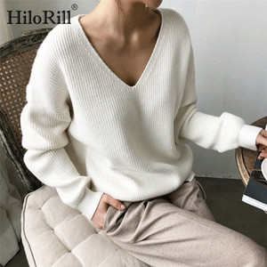 HiloRill Women Pullover Sweater Casual Solid V Neck Long Sleeve Knitted Sweaters Autumn Winter Loose Cashmere Tunic Tops 201017