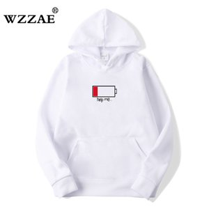 WZZAE 2020 Low Help Me Pullover Männer 3D Kreative Hoodys Fashion Street Hip Hop-SchwarzesHoodie Male Plus Size S-XXL