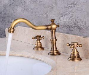 Retro Bathroom Double Handle Faucet Oil Rubbed Bronze Faucet Basin Sink Mixer Tap.3 Hole Two Handle sqcgxM dh_seller2010