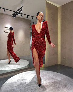 Arabic Dubai Style Long Sleeve Deep V-neck Prom Gown Sexy Side Split Formal Evening Dress Custom Made
