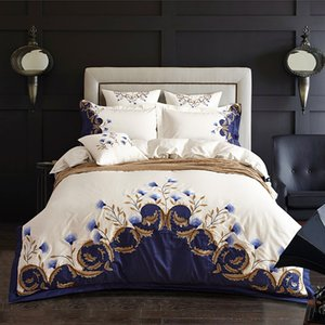 Luxury Chic Blue Embroidered Bedding set Egyptian Cotton Soft White Bed set Duvet Cover Bed Sheet set 4Pcs King Queen size 1012