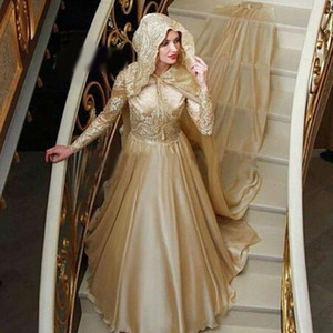 Muslim Long Sleeve Evening Dress Lace Appliqued High Neck Sequin Prom Dress With Hooded Cape Sweep Train Dubai Formal Gown