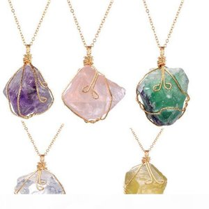 New Crystal Quartz NecklacesHealing Point Chakra Bead Gemstone Necklace Pendant original natural stone-style Pendant Necklaces Jewelry