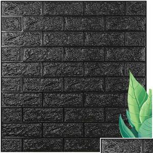 70*77 10pcs 3d Brick Wall Sticker Diy Self-adhesive Decor Foam Waterproof Covering Wallpaper For Kids Room bbywKr bde_luck