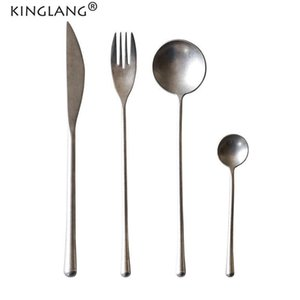 KINGLANG 4pcs Set Sliver Vintage NEW Flatware 304 Stainless Steel Dinner Spoon Western Fork Hotel Supplies Wholesale