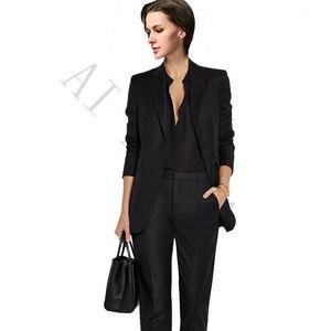 Frauen Zwei Stück Hosen Jacke + Hosen Frauen Business Anzüge Schwarz Weibliche Bürouniform Damen Winter Formale Prom Party 2 Single Breasted1