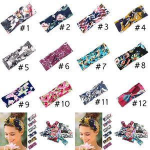 12-Frauen-Yoga-Sport-Haar-Bänder 8 * 24cm Charm Blumenkreuz Haarband gedruckt Knoten Stirnband Wide Brim Haarschmuck CYZ2845