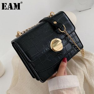 [EAM] Donne New Trend Brief Small Square PU Leather Plap Personalità All-Match Crossbody Borsa a tracolla Moda 2021 18A1741