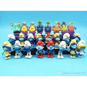 NEW 24pcs Smurfs Village Потерянной Эльфы Papa Smurfette Неуклюжие Фигурки тайна маска торт Топпер Play Set игрушка