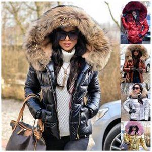 Bayanlar PU ceket Aşağı Moda Trend Uzun Kollu Parlak Fermuar Kısa Aşağı Yastıklı Ceket Tasarımcı Kış Kadın Yeni Casual İnce Kapşonlu Palto
