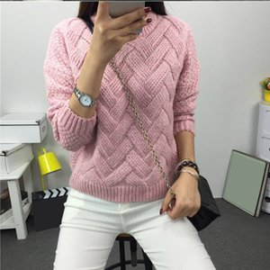 Winter O-neck Women's Sweater Jersey Woman Mohair Knitted Twisted Thick Warm Lady's Pullover College Jumper Women Pink Gray 201017