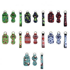Weihnachten Neopren Hand Sanitizer Flaschenhalter (30 ml) Keychain Wristlet Schlüsselanhänger Neopren Lippenstift Halter Weihnachtsdekoration HT12