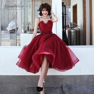 Платья для вечеринок Сексуальная красная короткая выпускного вечера 2021 бордовое платье без бретелек без рукавов, плиссированная колена формальное платье вечернее время