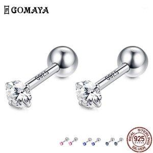 Gomaya 925 Sterling Silber Cubic Zirkonia Runde Kleine Ohrstecker Hochzeit Ohrring für Frauen Mädchen Engagement Fine Schmuck Geschenk1