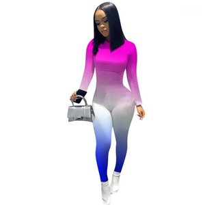 Delle donne di colore delle tute sexy girocollo Abbigliamento Gradient Designer Womens pagliaccetti moda scarno sottile delle donne Contrasto