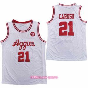 2020 Texas am Aggies Basquete Jersey NCAA College 21Alex Caruso Branco todos costurados e bordados tamanho S-3XL