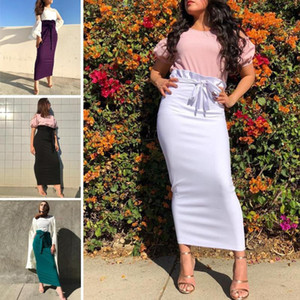 4 Colors Women Ruffle High Waist Skirt Muslim Maxi Bodycon Pencil Bottom Skirts Islam Middle East Arab Ankle-Length Sheath Skirt