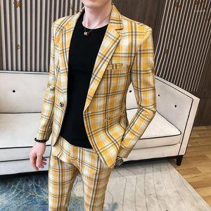 Plaid Suit Business 2 Pieces Suit Men Casual Slim Fit Wedding Groom Smoking Homme Mariage Terno Tuxedo (jacket+pant)1