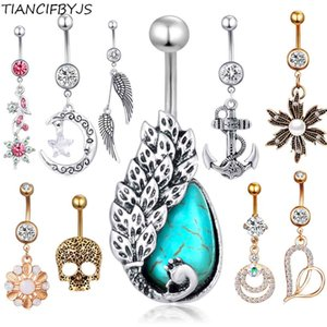 TIANCIFBYJS Mix 10 Styles 30pcs Wholesale Navel Rings Surgical Steel Dangle Piercing Belly Earring Button Ring Body Jewelry kit