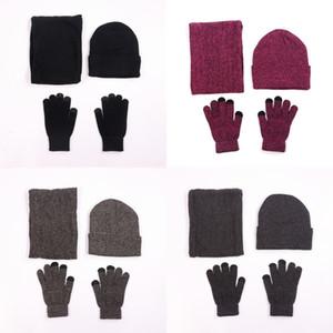 Sombreros de punto Guantes babero de tres piezas conjunto de felpa gruesa de lana de ciclismo al aire libre Conservar el calor del oído Protección Protección contra el viento Mujer Hombre Traje 18jy K2