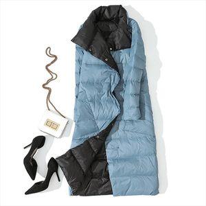 Autumn Winter Women Double Side Wear Down Jacket 90% White Duck Down Coats Parkas Female Casual Fashion Long Coats Outwears