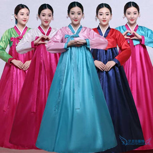 2020 Alta calidad Multicolor Multicolor COREAN HANBOK Vestido femenino folk folk etapa traje de baile corea traje tradicional1