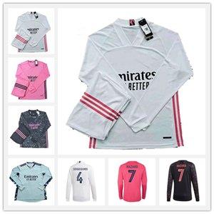 20 21 Real Madrid Manga Longa Futebol Jerseys Hazard Valverde Rodrgo Camiseta 2020 2021 Vinicius Asensio Camisa de Futebol Goleiro Conjunto de Terno