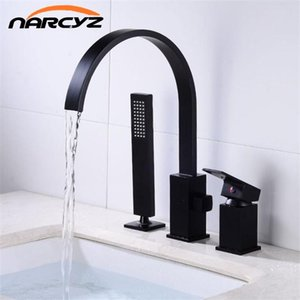 Bathtub Faucet Hot and Cold water three hole cylinder side mixing valve Set Gold Black split with hand Shower Faucet XR8267