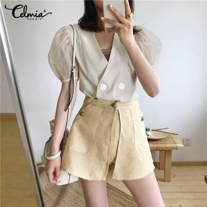 Celmia Fashion Women Short Sleeve Mesh Sexy Shirts 2020 Summer Blouses Sexy V neck Casual Solid Buttons Elegant Blusas Femme