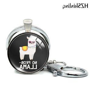 No 2020 Nuevo Prob Llavama Keyring Glass Cabochon Llaveros Funny Alpaca Llavero Redondo Joyería
