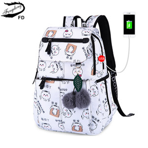 Natale nuovo zaino borse borse femminile ragazza gatto posteriore scuola per anno adolescente marca ragazze zaini fengdong regalo carino QKIWQ