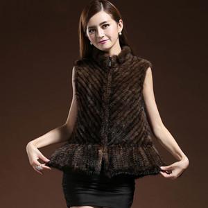 ZDFURS * gilets vison tricot naturels de fourrure des femmes de qualité Hight rayé tissé vraie fourrure de vison femme sans manches jacketsX1018 gilet