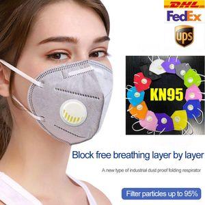kn95 maschera pacchetto adulto filtro dettaglio 95% monouso 5 strato di carbone attivo maschera Valvola respiratore Mascherine