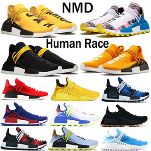 New Pharrell Williams NMD Human Race Mujeres Mujeres Running Shoes BBC Solar Pack Amarillo Igualdad Nerd Black Nobel Sports Zapato al aire libre