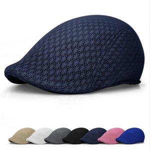 2020 Summer Hat Casual unisexe Hommes Femmes Sun Mesh évider Solide Couleur Beret Casquette plate Chapeau Peaked Casquette Bérets Respirant
