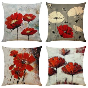 Art Flowers Linen Cushion Covers Home Office Sofa Square Pillow Case Decorative Pillow Covers Without Insert (18*18Inch)