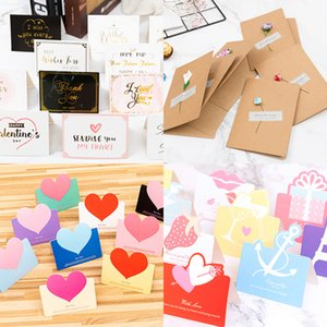 Valentine Day Greeting Card Wedding Party Supplies Birthday Thank You Card Blessing Card Kraft Paper Dried Flower Greeting Cards XD24105