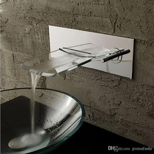 LED Chrome Glass Wall Mount Bathroom Sink Faucet Water Flow,Single Handle Single Hole Vessel Lavatory Faucet,basin Mixer Tap