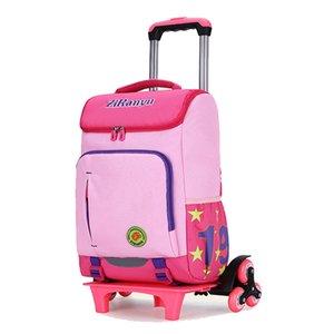 Ziranyu Kids Boys Girls Trolley Schoolbag Libro de equipaje Bolsas Backpack Últimas bolsas escolares de los niños extraíbles 2/6 Ruedas Escaleras T200709