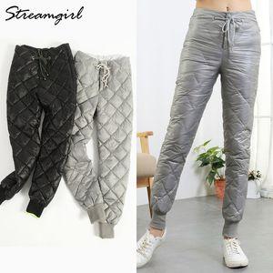 Streamgirl invierno pato pantalones pantalones mujeres pantalones de cintura alta cintura cintura pantalones pantalones invierno más tamaño pantalones hembra lj201201