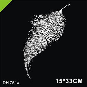 Feather crystal stone hot fix rhinestone transfer designs,strass hot fix rhinestone iron on motifs for t shirt dance dress 751