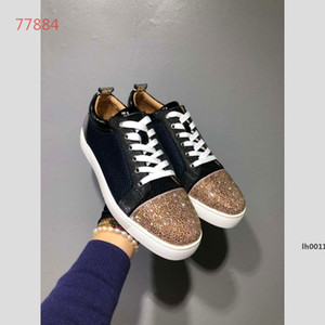 321g venta caliente en los zapatos de diseño en 2019 Parejas de lujo verdadera de cuero zapatos de plataforma de ocio tendencia de la moda brillante pedazos de las mujeres de los hombres Tamaño de los zapatos