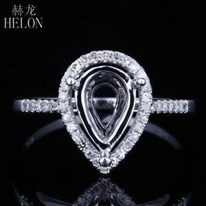 HELON Diamonds Ring Setting Solid 14K White Gold 10x6mm Pear CutSemi Mount Natural Diamonds Engagement Weddding Ring Setting