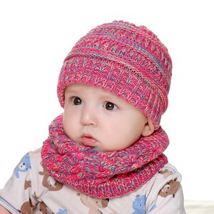 Knitted Hats Scarves Winter Set Baby Kids Knitted Hat And Collar Knitted Thickening Cap Scarf Children Accessories LLA213