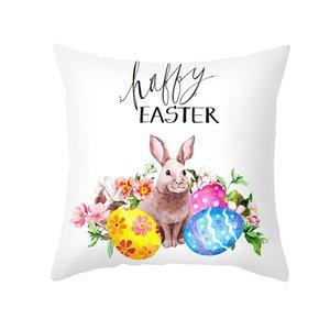 Coussin de coussin de lapin de lapin de lapin de Pâques 45x45cm Joyeuses Pâques Décoration pour les cadeaux de fête d'anniversaire à domicile pour enfants 106 K2