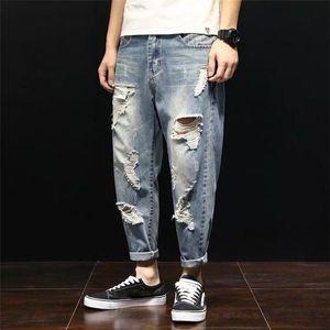 Street Mid-Waist Style Ripped Baggy Rotos Mens Fashion Hole Blue Denim Pants Loose Hombre Jeans De Vaqueros Jeans 2021 Washed Sqbix
