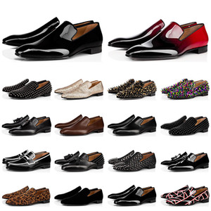 Fashion mens loafers shoes red bottoms triple black suede Patent Leather Rivets Slip On loafer Dress Wedding Shoe for Business Party