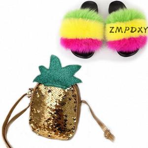 Enfants Coin Purse Sac à main Sac à main Enfants Rebox Fur Fourrure Diapositives Filles Rainbow Chaussures Peluche Cute Sequins Bling Bébé Baby Sac Chaussures Set # 9x7Q